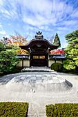 Gekämmtes Kiesfeld im Zen-Garten, Kyoto, Japan