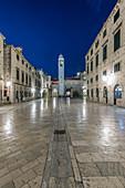 Town square, buildings and tower illuminated at night, Dubrovnik, Dubrovnik-Neretva, Croatia