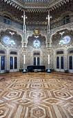 Ornate tiles in historical room, Porto, Portugal