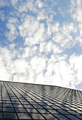 Reflection of clouds on highrise window, Los Angeles, California, USA