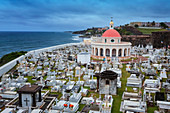 Aerial view of cemetery in San Juan, Puerto Rico
