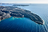 Aerial view of rocky rural coastline, Thira, Egeo, Greece