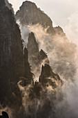 Nebel zieht über Berge, Huangshan, Anhui, China,