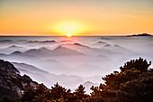 Nebel über felsige Berge, Huangshan, Anhui, China