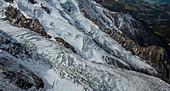 Snowy glaciers in mountains, Chamonix, France