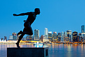 Statue of Harry Jerome (Famed Vancouver Olympic runner) in silhouette, Vancouver, British Columbia, Canada