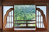 Japanese Temple Patio Doors, Miyajima, Hiroshima, Japan