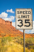 Bullet Holes in Speed Limit Sign,Moab, Utah, United States