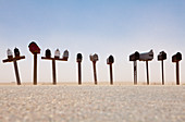 Rows of Mailboxes and Desert Dust,Navajo, Arizona, United States