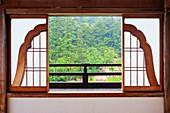 Open Bell Shaped Asian Window,Miyajima island, Hiroshima prefecture, Honshu island, Japan, Asia