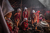 Kyrgyz women are cooking in yurt, Afghanistan, Asia