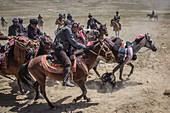 Kirgisisches Reiterspiel Buzkashi, Afghanistan, Asien