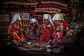 Kyrgyz women drink tea, Afghanistan, Asia