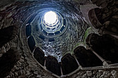 View from the initiation fountain in the garden Quinta da Regaleira, Sintra, Portugal