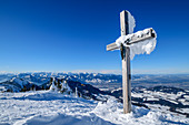 Snow-covered summit cross on the Hochries, Hochries, Chiemgau Alps, Upper Bavaria, Bavaria, Germany