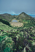 Crater lake and hills on the island of Sao Miguel, Azores, Atlantic Ocean, Atlantic Ocean, Europe