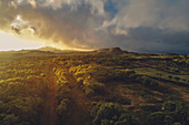 Sunset over the island of Pico, Pico, Azores, Portugal, Atlantic Ocean, Atlantic Ocean, Europe,