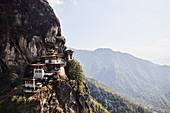 Taktsang Lhakhang, or The Tiger's Nest, perched high above the Paro Valley