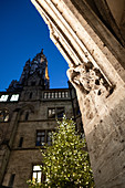 The inner courtyard of the new town hall on Marienplatz with Christmas tree, Munich, Bavaria, Germany