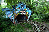 Overgrown roller coaster in the disused amusement park in the Plänterwald, Treptow, Berlin, Germany