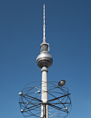 View of the television tower in the foreground with the world clock in the same axis, Alexanderplatz, Mitte, Berlin, Germany