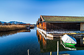 Boathouses in Seehausen am Staffelsee. The Blue Land, Seehausen, Bavaria, Germany