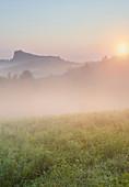 Morning fog, Riegersburg, Styria, Austria