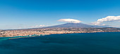 The Etna and the city of Catania in Sicily, Italy