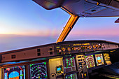 Sunrise from the cockpit of an Airbus A320