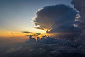 Bird's eye view behind a storm cloud, Franconia, Germany