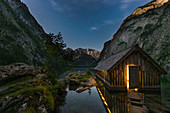 Light in the boathouse at Obersee, Berchtesgaden, Bavaria