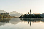 Pilgrimage Church of the Assumption of Mary on Blejski Island in Lake Bled, Upper Carniola, Slovenia