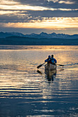 Canoeing, paddling, lake, Canadian, canoeing, duo, sunset, blue hour