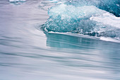 Close-up of ice block in the Jokulsarlon glacier lagoon in southeast Iceland, Iceland, Europe
