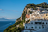 View of houses from Capri and Vesuvius in the background, Capri Island, Gulf of Naples, Italy