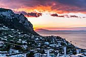 red sunset on the island of Capri, Marina Grande, Capri, Gulf of Naples, Italy