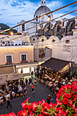 View of the piazetta and cafes in the evening, Capri Island, Gulf of Naples, Italy