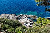 View of the Fontelina bathing establishment, Capri Island, Gulf of Naples, Italy