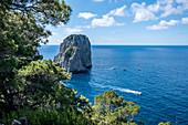 View of the Faraglioni rocks from Capri, Capri Island, Gulf of Naples, Italy