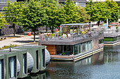 Houseboats on a canal in Hamburg, northern Germany, Germany