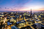 Panoramic view at the blue hour on Hamburg with the Elbphilharmonie and St. Nickolai Memorial, Hamburg, Northern Germany, Germany
