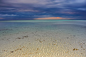 Beach panorama on a thunderstorm evening in Cayo Guillermo. Jardines del Rey. Cuba.