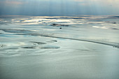 Aerial view from the Wadden Sea over the North Sea in East Frisia, Germany, Europe