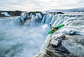 Iceland, Iceland, Far North, Frost, Cold, Ice, Snow, Winter, Kayaking, Kayaking, White Water, Godafoss, Danger, Icy, Waterfall, February