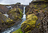 Iceland, road trip, midsummer night, mountain bike, MTB, e-bike, cyclist, waterfall