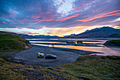 Iceland, Road Trip, Midsummer Night, Camping, Mercedes EQC, Mink Camper, Caravan, Overnight, Overnight, Good Night