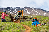 Iceland, road trip, midsummer night, mountain bike, MTB, bike park, single trail