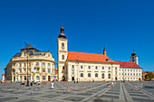 Piata Mare with Roman Catholic parish church and town hall, Sibiu, Transylvania, Romania
