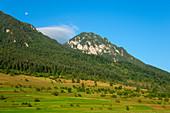View of the Koenigsstein massif, Craiului National Park, Carpathian Mountains, Transylvania, Romania