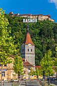 Rasnov with farm castle, Brasov County, Transylvania, Romania